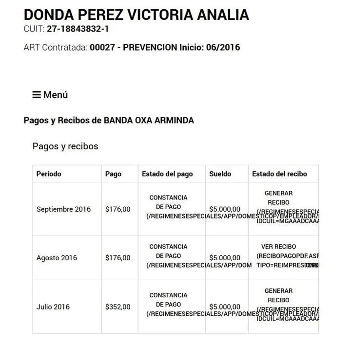 Según los recibos de sueldo, aportados por Victoria Donda, en 2016 su empleada doméstica cobraba $5.000 mensuales.