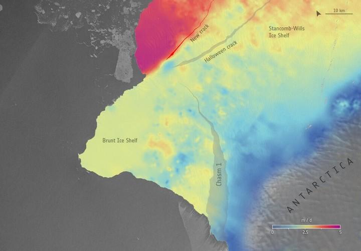 Una imagen de la nueva grieta. Foto: ESA