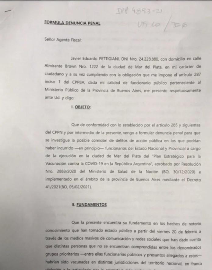 Denuncia realizada por el fiscal Javier Pettigiani.