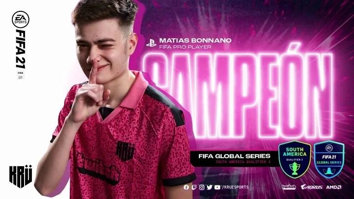 Matías Bonanno, KRÜ Esports player.  He became champion of the first CONMEBOL eLibertadores on PlayStation 4.