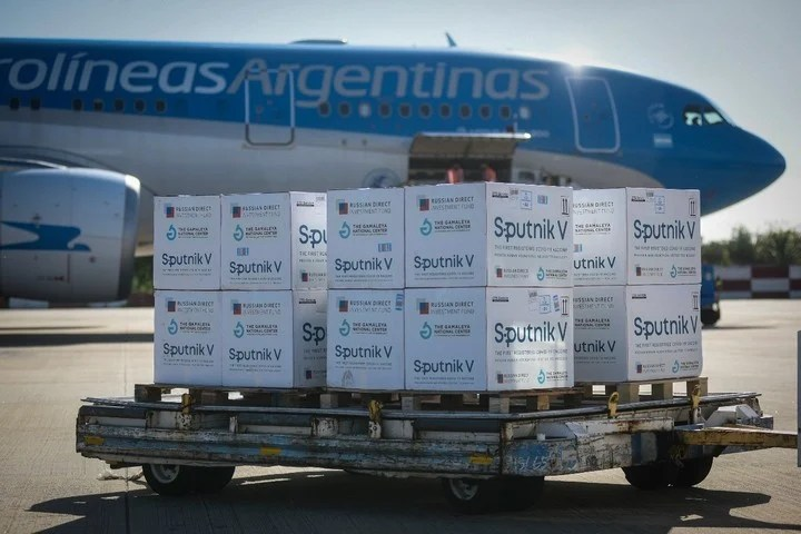One of the Aerolineas Argentinas flights to bring Sputnik V vaccines from Russia.  Photo Aerolineas Argentinas.
