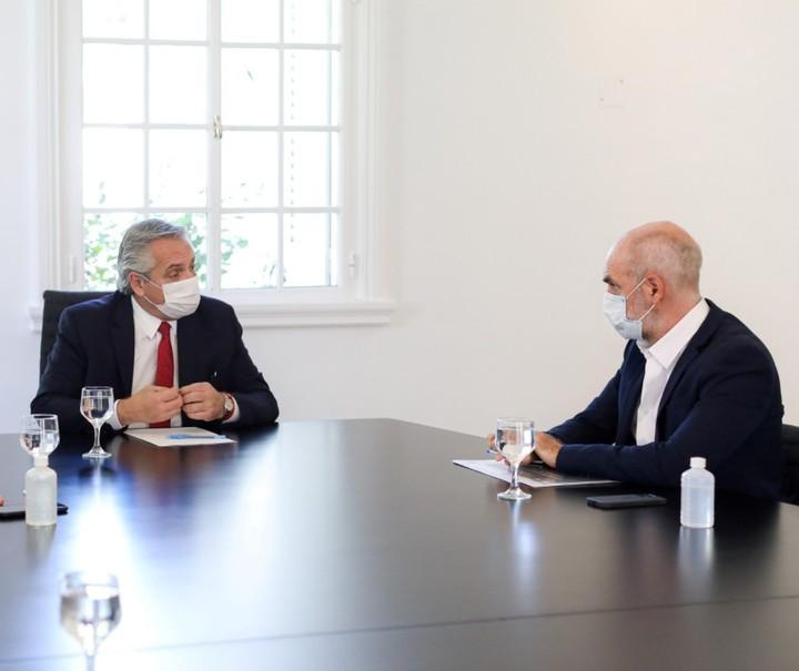 Alberto Fernández y Horacio Rodríguez Larreta, en una de las reuniones que tuvieron en Olivos. El jefe de Gobierno porteño saldría fortalecido tras el fallo de la Corte.