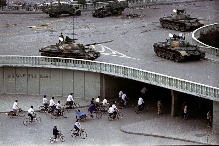 Tanks on a Beijing street on June 6, 1989, two days after the massacre of protesters in Tiananmen Square.  Photo: AP