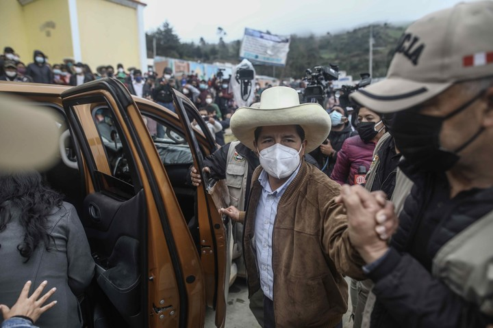 Pedro Castillo, candidate for the presidency for the Peru Libre party, goes to the Virgen de los Dolores church in the town of Anguía, in Cajamarca, (Peru).  Photo EFE