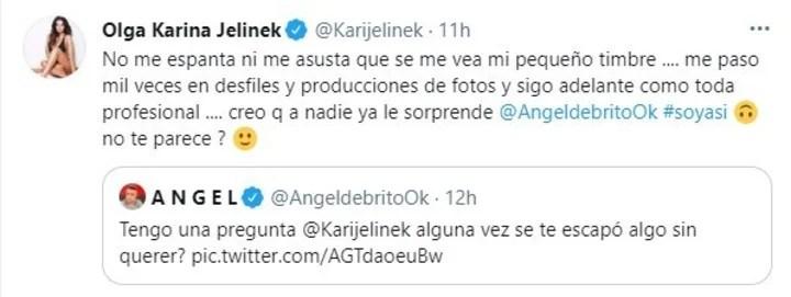 El picante tuit de Ángel de Brito a Karina Jelinek. Captura de Twitter