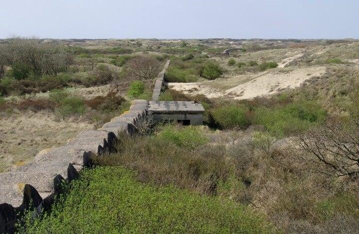Like a rampart, the Atlantic Wall runs through the dune terrain in Katwijk, north of the Hague coast.  Photo: Dutch Gazette.