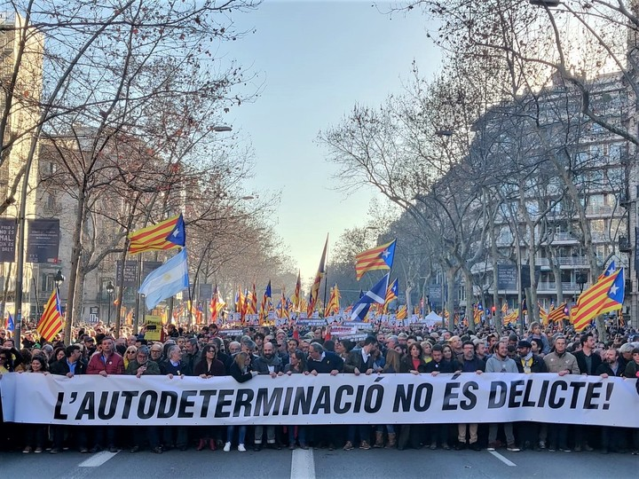 Demonstration against the trial of the independence process in 2019. Photo: dpa