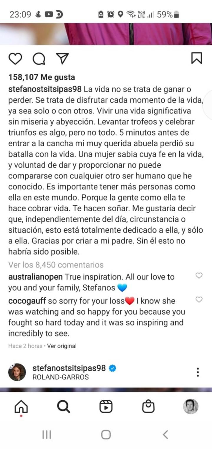 The full statement from Tsitsipas, in Spanish.