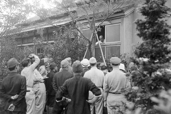 Hideki Tojo at home minutes before shooting himself in front of the press.  Photo: AP
