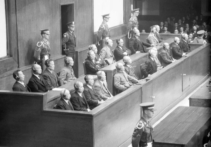 The defendants during the war crimes trial.  Photo: AP
