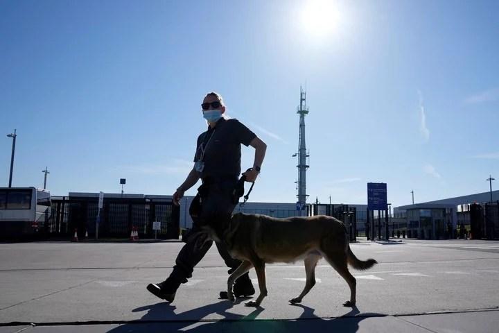 A policeman patrols the area around the summit.  Photo: AP