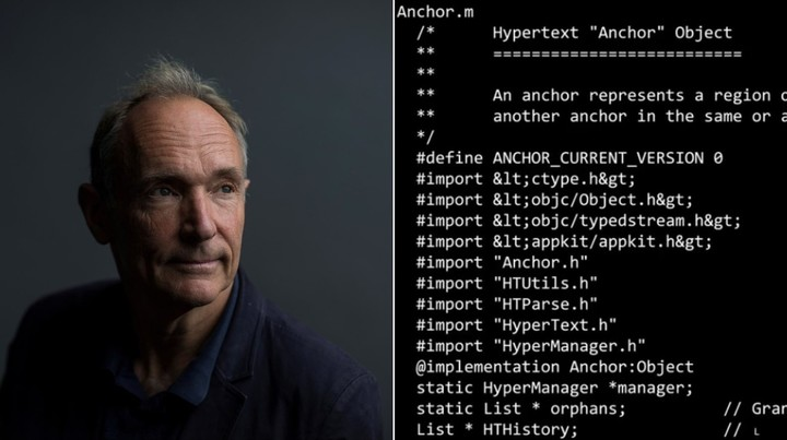 Tim Berners-Lee and the code of the World Wide Web.  Photo Sotheby's