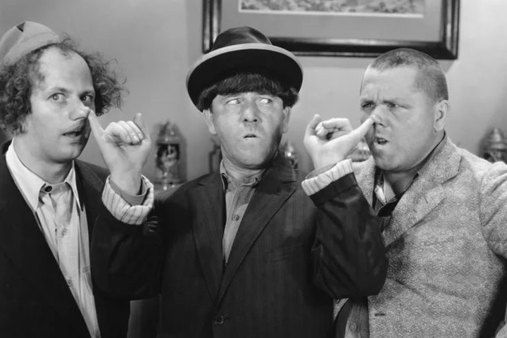 One of the typical scenes of physical humor today criticized from The Three Stooges.