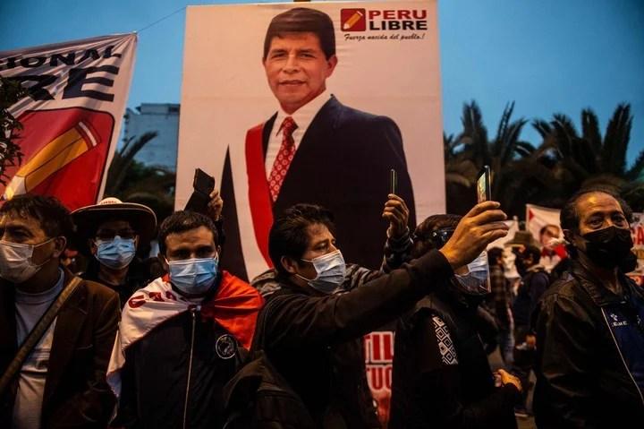 Followers of Pedro Castillo, in Lima.  AFP photo