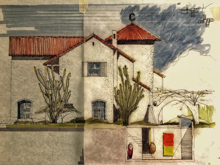 The sketch shows how the extension does not affect the original aesthetics of the house.