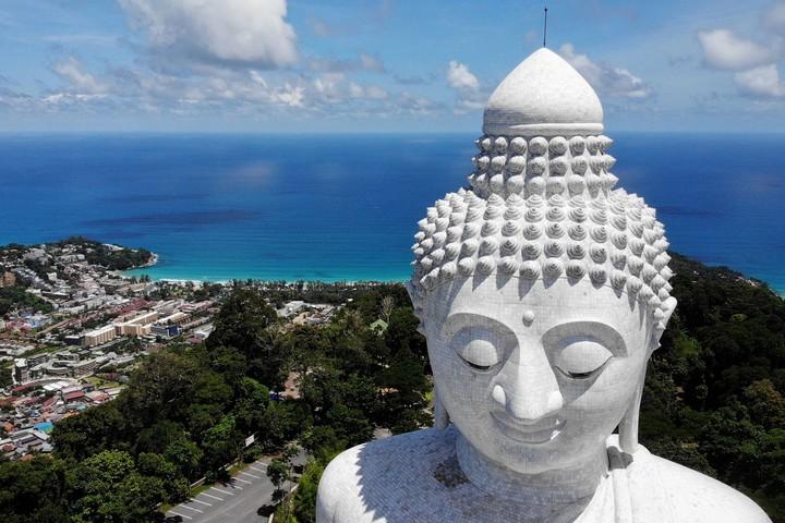 The Big Buddha and Kata Beach in Phuket.  Photo Lillian SUWANRUMPHA / AFP