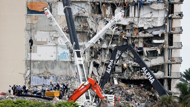 An aerial view of the collapsed building.  Reuters photo