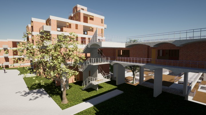 Prefabricated elements with local materials such as brick make up the entirety of the buildings.