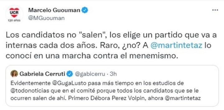 The Buenos Aires UCR responds to Cerruti