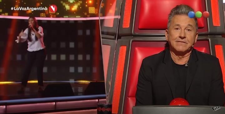 Ricardo Montaner's reaction when listening to Jimena Jans.  Capture TV.