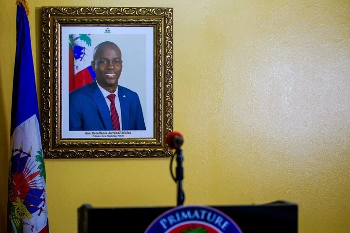 A portrait of Jovenel Moise, the president of Haiti assassinated last week, before an official ceremony in Port-au-Prince to inform how the funeral will be.  Photo: EFE