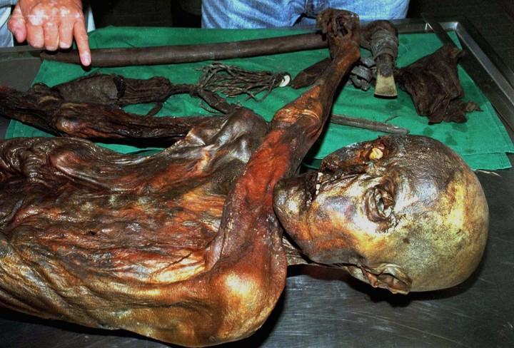El cuerpo de Oetzi y las armas con las que se defendió y fue atacado antes de morir.