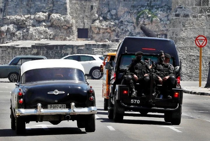 Police from a special brigade patrol the streets of Havana, days after the July 11 protests in Cuba.  Photo: EFE