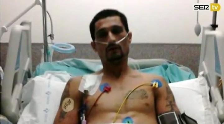 """Jiménez en el hospital liego de """"resucitar"""" (Captura de TV)."""
