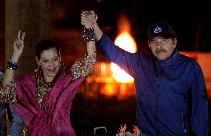 Rosario Murillo and Daniel Ortega.  AFP photo