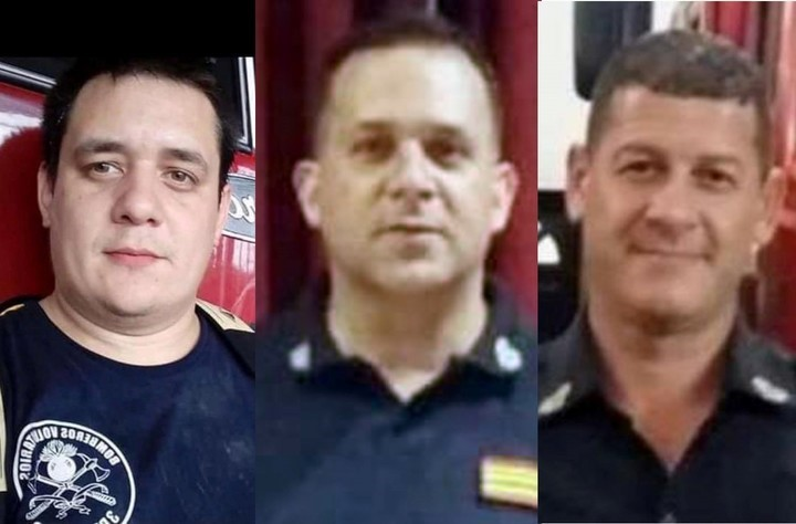 Ragazzoni, Silva and Fedeli, the three firefighters who died in Caseros.