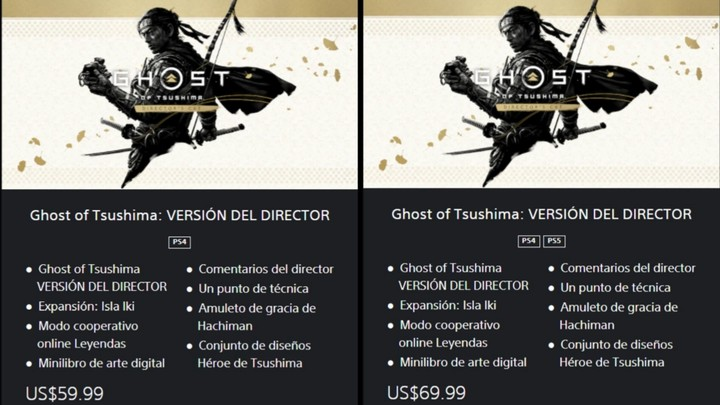Digital copies of Ghost of Tsushima: Director's Cut on the PS Store digital store.  Photo: capture.