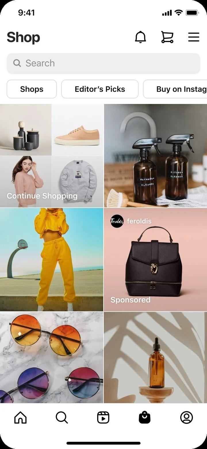 The Shops tab on Instagram is renewed.