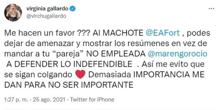 Virginia Gallardo's strong message to Eduardo Fort after the words of Rocío Marengo.  Twitter capture