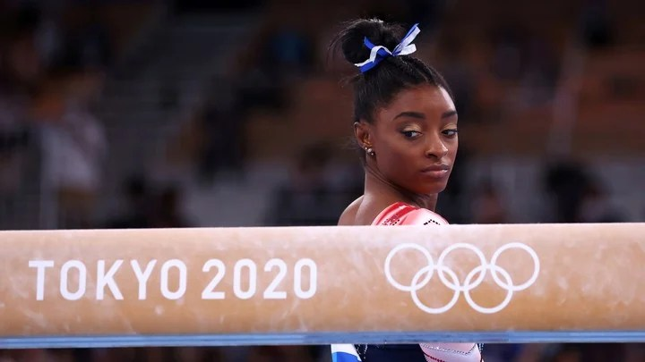 Simone Biles was dropped from several finals at Tokyo 2020. Photo Mike Blake / Reuters