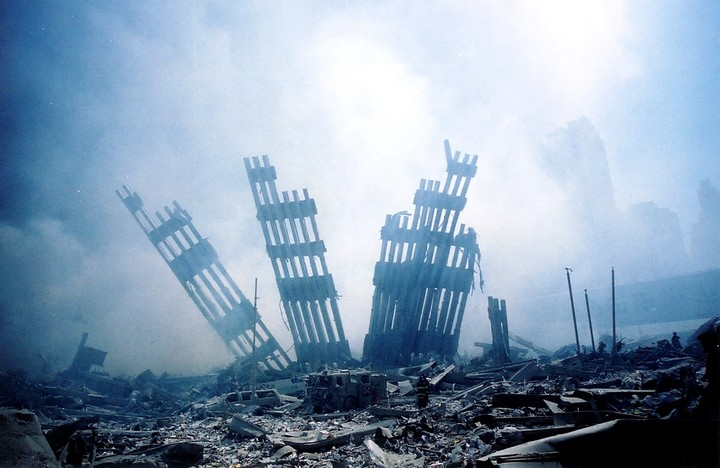 What was left of the twin towers, after the 9/11 attacks.  Photo: AFP
