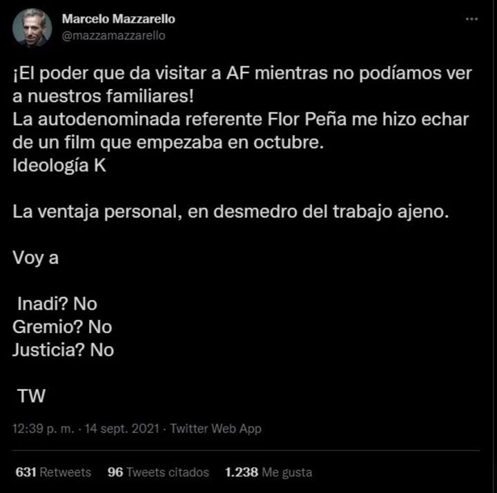 El tuit de Marcelo Mazzarello contra Florencia Peña.