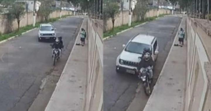 La camioneta blanca, a punto de atropellar a los delincuentes.