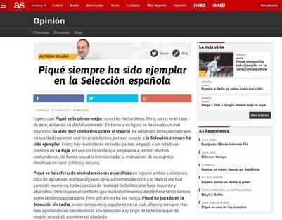 Las disculpas del director de As por levantar la noticia sobre las mangas de la camiseta de Piqué.