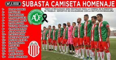 Las 18 camisetas utilizadas por los jugadores de Barracas Central se subastarán a beneficio de Chapecoense.