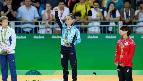 El podio con Pareto con la de oro. (Lorena Lucca, enviada especial)