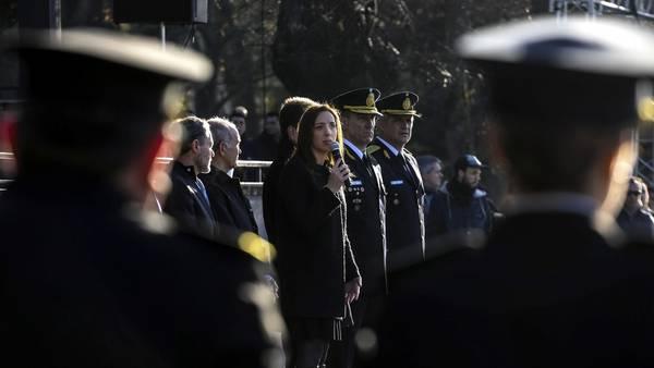 La gobernadora María Eugenia Vidal en un acto de la Policía.