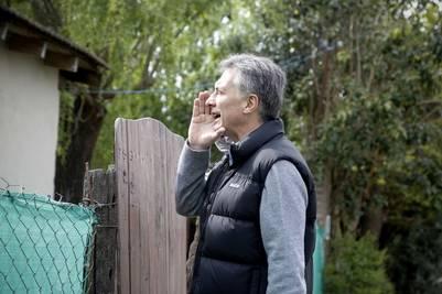 Mauricio Macri en uno de los timbreos del PRO. (Prensa Cambiemos)