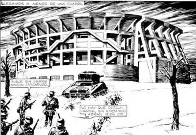 El Monumental, retratado en una de las viñetas de El Eternauta