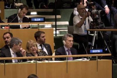 Presidente Mauricio Macri, canciller Susana Malcorra, Jefe de gabinete, Marcos Peña y atrás, Fulvio Pompeo, en la banca de la Asamblea Gral de las Naciones Unidas de Nueva York. 20 de septembre 2016. Foto: Adriana Groisman