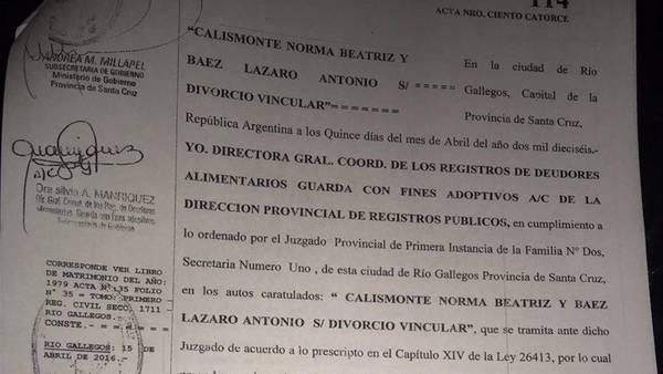 El acta de divorcio de Lázaro Báez
