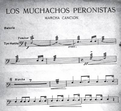 Los muchachos peronistas, partitura, 1950. Parte de la batería, comienzo.
