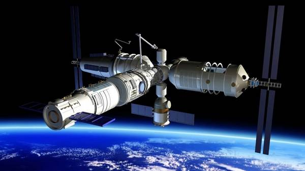 Completo. Así quedará el laboratorio espacial chino al acoplarse todas sus partes.