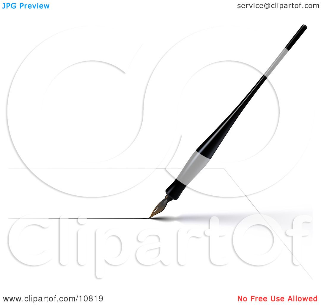 A Black Calligraphy Ink Pen Writing On White Paper Clipart