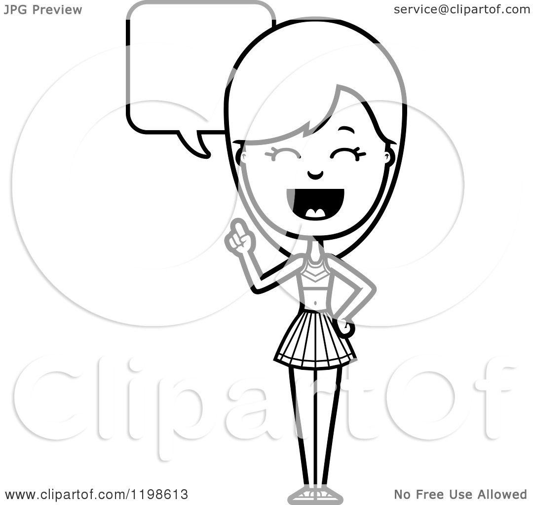 Black And White Happy Cheerleader Talking