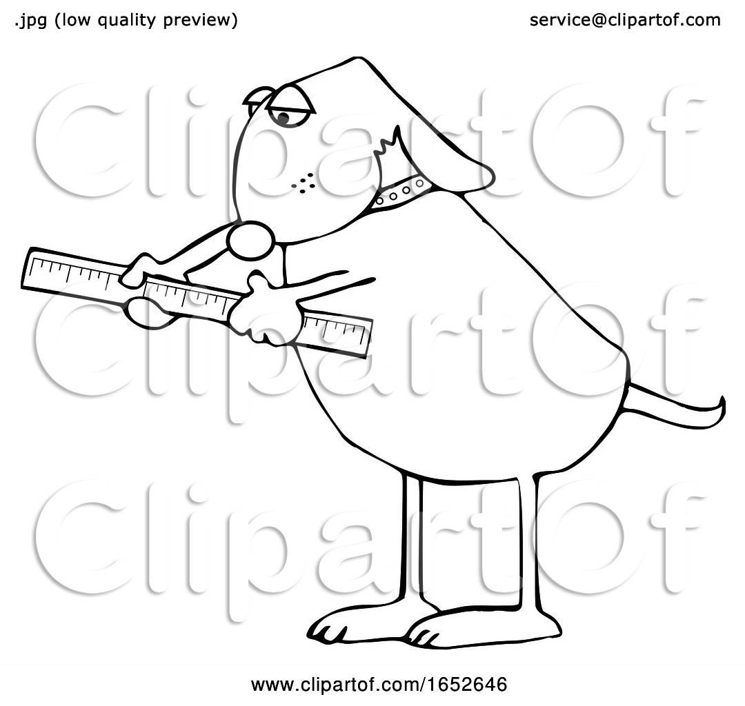 Cartoon Black And White Dog Using A Ruler By Djart